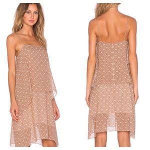 Theory silk dafeon layered print dress M midi